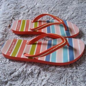 Coach clementine Rubber Flip Flops Sz 7/8 Stripes